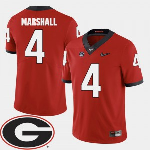 Men UGA #4 Keith Marshall Red College Football 2018 SEC Patch Jersey 429465-644