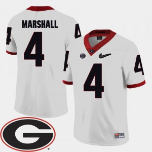 For Men's GA Bulldogs #4 Keith Marshall White College Football 2018 SEC Patch Jersey 554526-917