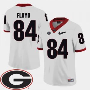 Men's University of Georgia #84 Leonard Floyd White College Football 2018 SEC Patch Jersey 521342-716