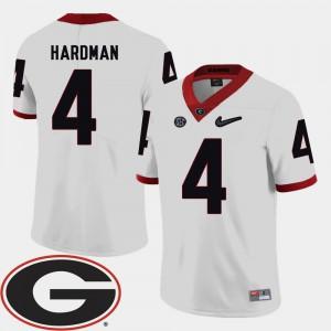 Men's UGA Bulldogs #4 Mecole Hardman White College Football 2018 SEC Patch Jersey 818617-513