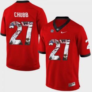Men's UGA Bulldogs #27 Nick Chubb Red Pictorial Fashion Jersey 383510-759