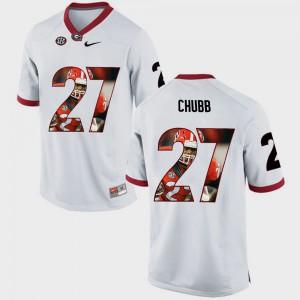Men's University of Georgia #27 Nick Chubb White Pictorial Fashion Jersey 936196-837