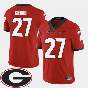 Men Georgia Bulldogs #27 Nick Chubb Red College Football 2018 SEC Patch Jersey 240855-592