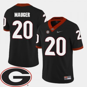 For Men UGA #20 Quincy Mauger Black College Football 2018 SEC Patch Jersey 556626-330