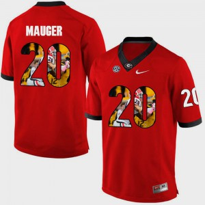 Men's UGA Bulldogs #20 Quincy Mauger Red Pictorial Fashion Jersey 500051-815