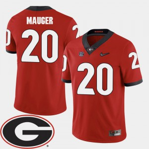 For Men's Georgia Bulldogs #20 Quincy Mauger Red College Football 2018 SEC Patch Jersey 284062-187