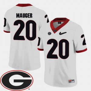 For Men's University of Georgia #20 Quincy Mauger White College Football 2018 SEC Patch Jersey 861526-218