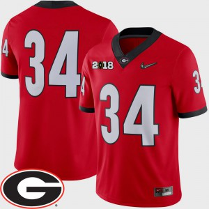 Men University of Georgia #34 Red College Football 2018 National Championship Playoff Game Jersey 691264-532
