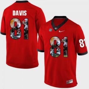For Men University of Georgia #81 Reggie Davis Red Pictorial Fashion Jersey 435808-494