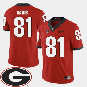 Mens UGA Bulldogs #81 Reggie Davis Red College Football 2018 SEC Patch Jersey 386037-192