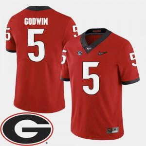 Men Georgia Bulldogs #5 Terry Godwin Red College Football 2018 SEC Patch Jersey 695702-379