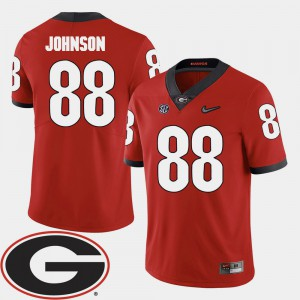 For Men's UGA Bulldogs #88 Toby Johnson Red College Football 2018 SEC Patch Jersey 478463-157