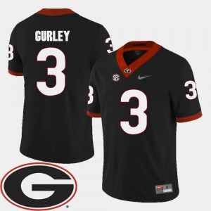 For Men Georgia Bulldogs #3 Todd Gurley Black College Football 2018 SEC Patch Jersey 944495-877