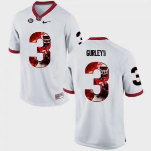 For Men Georgia Bulldogs #3 Todd Gurley II White Pictorial Fashion Jersey 155675-240