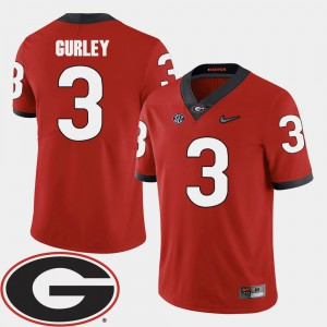 Men GA Bulldogs #3 Todd Gurley Red College Football 2018 SEC Patch Jersey 663387-524