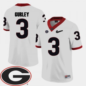 Mens GA Bulldogs #3 Todd Gurley White College Football 2018 SEC Patch Jersey 197531-217