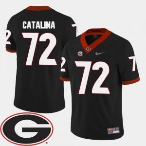 Mens Georgia Bulldogs #72 Tyler Catalina Black College Football 2018 SEC Patch Jersey 622017-311