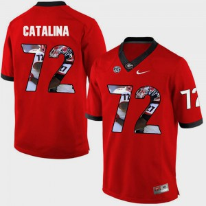 For Men's GA Bulldogs #72 Tyler Catalina Red Pictorial Fashion Jersey 395102-877