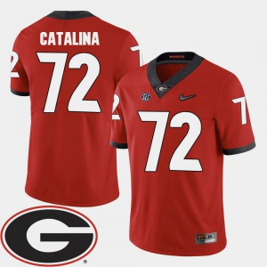 Men Georgia Bulldogs #72 Tyler Catalina Red College Football 2018 SEC Patch Jersey 608369-802