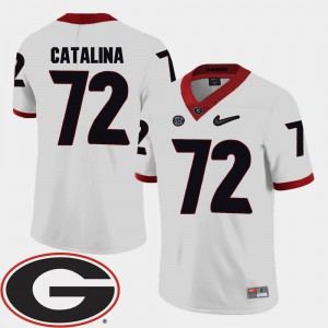 For Men Georgia #72 Tyler Catalina White College Football 2018 SEC Patch Jersey 533137-394